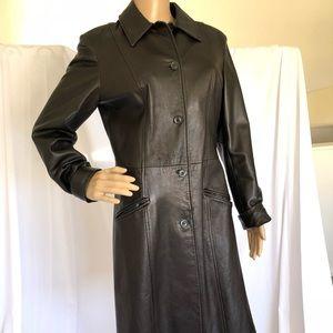 Women's 100% leather trench coat